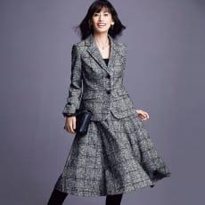 フェルラ社 アルパカ混 チェックツイード スーツセット(ジャケット+スカート)