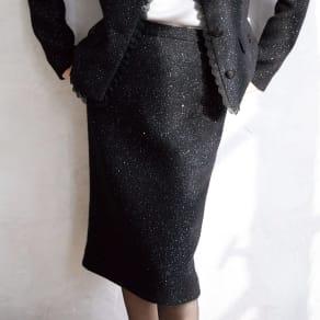 イタリア素材 スパンコール ツイード スカート 写真