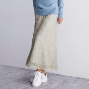 フランス素材 ミニフラワー刺繍 チュールレース ロングスカート 写真
