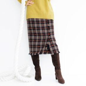 イタリア素材 チェック柄 フリンジ使い スカート 写真