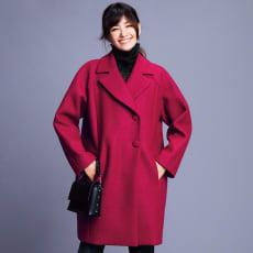 イタリア素材 ウールジャージー ビッグカラー コート