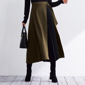 ウール混フラノ プリーツ レイヤード風 スカート 写真