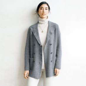 カシミヤ ミラノリブ編み テーラード ジャケット 写真