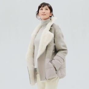 スペイン産ムートン使い デザインハーフコート 写真