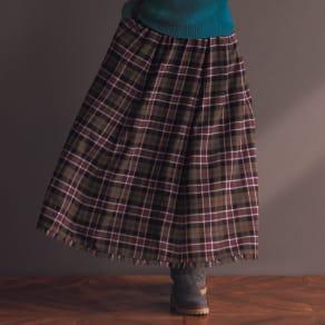 イタリア素材 チェック柄フレアーロングスカート 写真