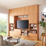 小さなリビングにきちんとおさまるコンパクト壁面収納 収納庫 テレビ台 幅140cm 写真