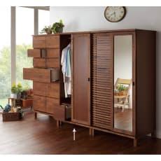 アルダー天然木格子スライドワードローブ ハンガー・右板扉・幅80cm