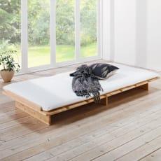 角の丸い日光檜ステージベッド すのこベッドのみ(長さ205高さ19cm)