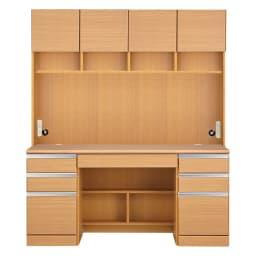 あこがれの書斎スペースを現実にする壁面収納 デスク上棚付き 両引き出し (イ)ナチュラル
