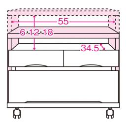 高さも角度も調整できるキャスター付きテレビ台 幅60cm 内寸図 ※赤文字は内寸(単位:cm)※ピンク色は可動天板(天板奥行37)6cm間隔3段階可動