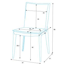 スマート伸長式ダイニング お得な5点セット(伸長式テーブル+チェア2脚組×2) チェア詳細図(単位:cm)