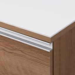人工大理石天板 薄型オープンハイカウンター 幅100cm (イ)ブラウン 木目が美しく、上品で高級感があります。