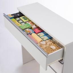 人工大理石天板 薄型オープンハイカウンター 幅100cm 食品やラップなどのストックの整理整頓にも◎