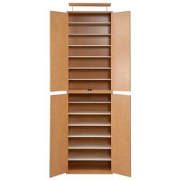 並べても使える 突っ張り式ユニットシューズボックス 天井高さ234~244cm用・幅60cm[紳士靴対応] (イ)ライトブラウン色見本 写真は幅60天井高さ213~223cmタイプです。