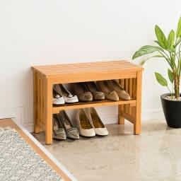 省スペースタイプ ブーツの脱ぎ履きが楽な天然木玄関ベンチ 幅60cm 使用イメージ(ア)ライトブラウン
