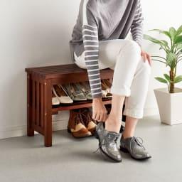 省スペースタイプ ブーツの脱ぎ履きが楽な天然木玄関ベンチ 幅60cm ブーツや、紐靴の着脱はベンチで快適に!