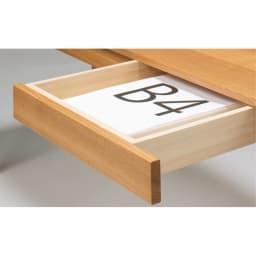 タモ天然木 スマート配線 無垢材頑丈デスクシリーズ デスク・幅95cm 引き出しはB4対応で頑丈な箱組仕様。