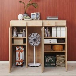 天然木調 掃除機もしまえる本棚 幅60本体高さ120cm 使用イメージ(イ)ナチュラル