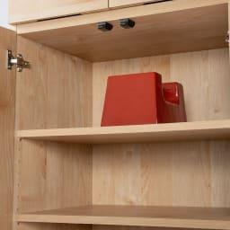 天然木調 掃除機もしまえる本棚 幅80本体高さ120cm 3cmピッチ可動棚板は、たわみにくい頑丈仕様。