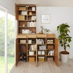 天然木調 掃除機もしまえる本棚 幅80本体高さ120cm
