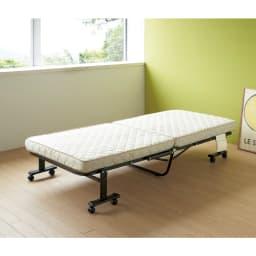 組立不要 立ち座りしやすい折りたたみベッド リモコン・ポケット付き