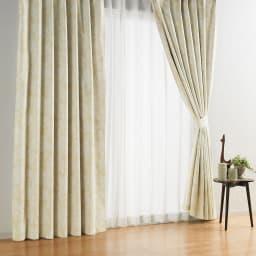 アルミコーティング遮熱・1級遮光ヒートブロック100サイズカーテン 100cm幅(2枚組) (コ)フラワーベージュ
