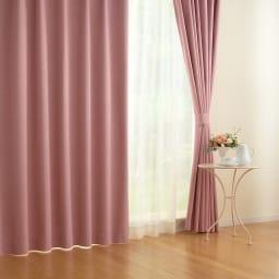 アルミコーティング遮熱・1級遮光ヒートブロック100サイズカーテン 130cm幅(2枚組) (エ)ピンク