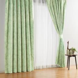 アルミコーティング遮熱・1級遮光ヒートブロック100サイズカーテン 200cm幅(1枚) (ス)フラワーグリーン