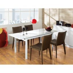スマート伸長式ダイニング お得な5点セット(伸長式テーブル+チェア2脚組×2) 天板が伸長!140cmから180cmに広がります。