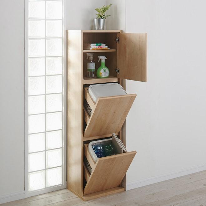 静かに閉まる家具調 分別タワーダストボックス 2分別・扉付き コーディネート例(ア)ナチュラル 表面材はクリーンイーゴスなので汚れが簡単に落とせます。