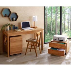 タモ天然木 スマート配線 無垢材頑丈デスクシリーズ プリンターワゴン 写真