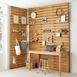 パイン天然木突っ張り式 デコレーション壁面ラック 幅45cm (イ)ナチュラル ※写真は幅45cmを2台、幅60cmタイプを3台使用しています。