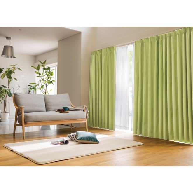 アルミコーティング遮熱・1級遮光ヒートブロック100サイズカーテン 130cm幅(2枚組) (カ)グリーン