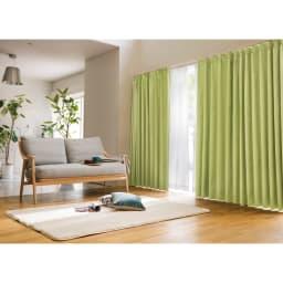 アルミコーティング遮熱・1級遮光ヒートブロック100サイズカーテン 200cm幅(1枚) (カ)グリーン