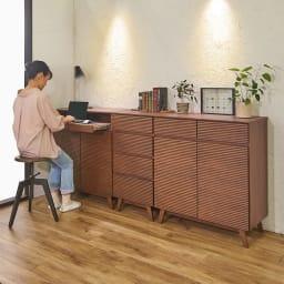 天然木格子 リビングボードシリーズ PCキャビネット 幅80cm コーディネート例