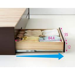 布団が使える洋服たんすベッド ヘッドなし(高さ41cm) たっぷりしまえて、探しやすい 最大70cm引き出せるフルスライドレール付きの引き出し。