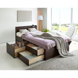 布団が使える洋服たんすベッド ヘッド付き(高さ80・床面まで41cm) 引き出しは反対側にも設置できます。