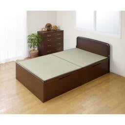 絨毯のような長いモノも収納できる!跳ね上げ式収納畳ベッド ヘッド付き(高さ80・床面まで41cm) 写真はセミダブルです。