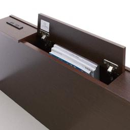 間仕切り仕様 大容量収納チェストベッド ポケットコイルマットレス付き ヘッドボードには深さ32cmの雑誌が入る収納庫付き。棚の端には2口コンセント付き。