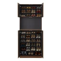インテリアに合わせて8色&13タイプから選べるシューズボックス オープン 幅90高さ180.5cm 収納イメージ ※写真は幅75cmタイプです。
