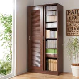 省スペース大量収納引き戸ルーバーシューズボックス 幅120cm 書棚としてもご利用いただけます。