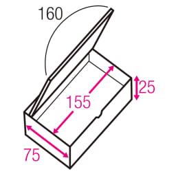 跳ね上げ式収納ユニット畳高さ33cmタイプ お得なヘリ無し4.5畳セット 寸法図(単位:cm) ※赤文字は内寸、黒文字は外寸表示です。 収納部は仕切りなしでたっぷり入れられ、ゴルフバッグのような長尺物も収まります。