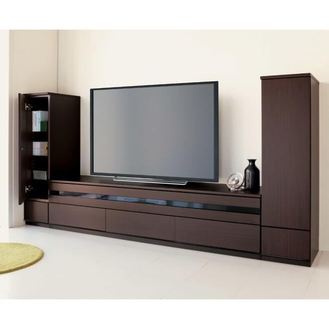ラインスタイルシリーズ テレビ台 幅178cm シックで落ち着いた印象の(ア)ダークブラウン。 ※お届けはテレビ台・幅178cmです。※テレビサイズは55インチのイメージです。