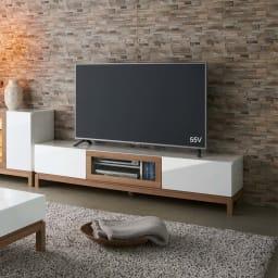 光沢が美しい 北欧風ナチュラルモダン リビング収納シリーズ  テレビ台 幅180cm リビングをスタイリッシュで洗練された空間へと演出します。(ア)ホワイト