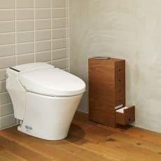 トイレットペーパーを1個ずつ引き出せる天然木調トイレストッカー 幅14.8cm
