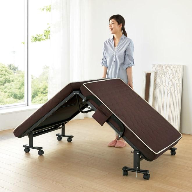 組立不要 高反発マットレスワンタッチ折りたたみベッド 女性でも楽々折りたたみができる計量ベッド