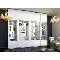 美しく飾れる 光沢仕上げ収納システム ガラス扉コレクションケース 幅80cm