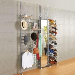 突っ張りシューズラック 幅53cm シリーズ商品とのコーディネート例