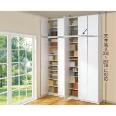 効率収納できる段違い棚シェルフ [本体 板扉タイプ 開き戸 幅90cm] 奥行32.5cm 高さ180cm