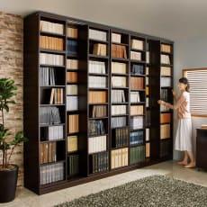 本格仕様 快適スライド書棚 オープン・上置き付き 4列